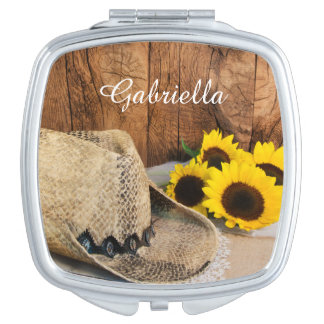 Cowboy Hat, Sunflowers, Barn Wood Country Wedding Vanity Mirrors