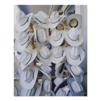 Cowboy hats hanging in a hat shop, Texas, USA Poster