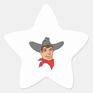 COWBOY HEAD STAR STICKER