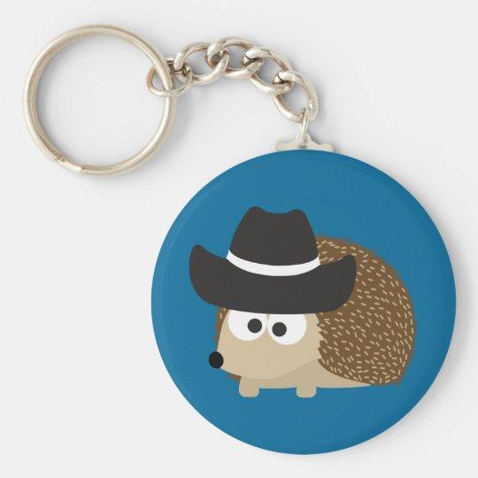 Cowboy Hedgehog Basic Round Button Key Ring