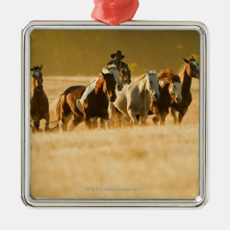 Cowboy herding horses 2 Silver-Colored square decoration