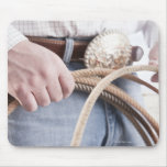 Cowboy holding a rope mouse pads