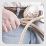 Cowboy holding a rope square sticker