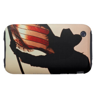 Cowboy holding Stars and Stripes, silhouette, iPhone 3 Tough Cases