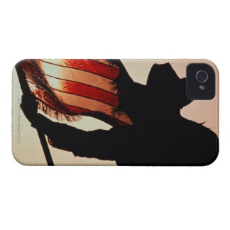 Cowboy holding Stars and Stripes, silhouette, iPhone 4 Case