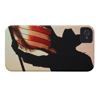 Cowboy holding Stars and Stripes, silhouette, iPhone 4 Case-Mate Cases