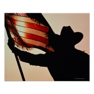Cowboy holding Stars and Stripes, silhouette, Poster