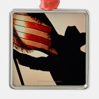 Cowboy holding Stars and Stripes, silhouette, Silver-Colored Square Decoration