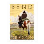Cowboy & Horse - Bend, Oregon Postcard