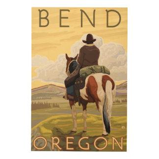 Cowboy & Horse - Bend, Oregon Wood Print