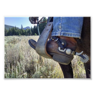 Cowboy horse boot spurs photo print