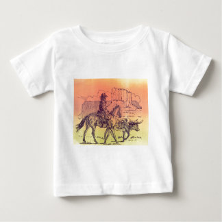 Cowboy Horse Steer Cattle Cow Western Sunset Art Tees