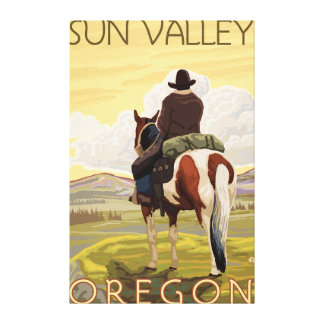 Cowboy & Horse - Sun Valley, Idaho Canvas Print