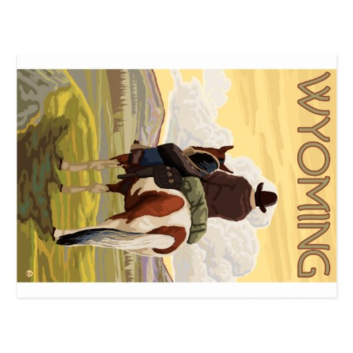 Cowboy & Horse - Wyoming Post Cards