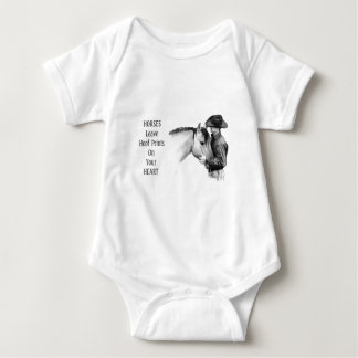 Cowboy: Horses: Hoof Prints: Pencil Drawing Baby Bodysuit