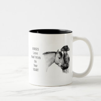 Cowboy: Horses: Hoof Prints: Pencil Drawing Two-Tone Coffee Mug