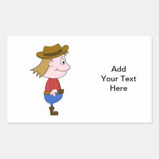 Cowboy illustration. rectangular sticker