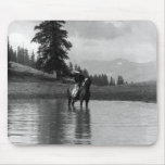 Cowboy in a pond mouse mat