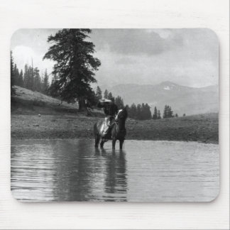 Cowboy in a pond mouse pad