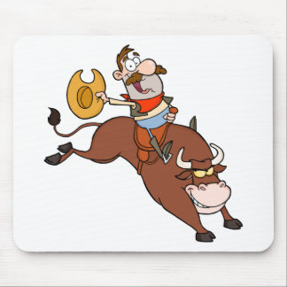 Cowboy In Rodeo Mouse Pads