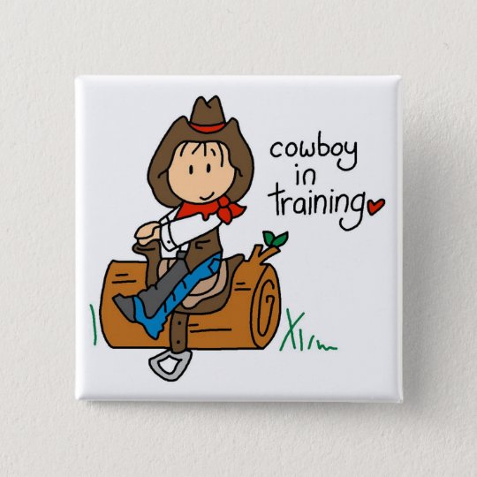 Cowboy in Training Tshirts and Gifts 15 Cm Square Badge