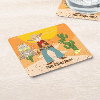Cowboy kid birthday party square paper coaster