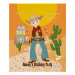 Cowboy kid birthday party poster