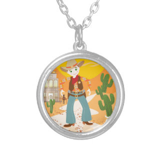 Cowboy kid birthday party round pendant necklace