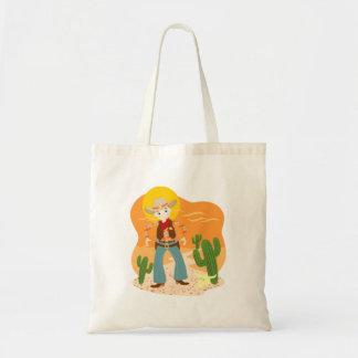 Cowboy kid birthday party tote bag
