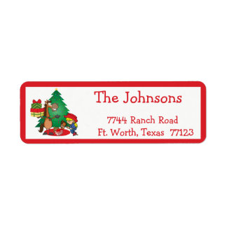 Cowboy Kids And Horse Cartoon Holiday Labels