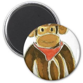 Cowboy Monkey 6 Cm Round Magnet