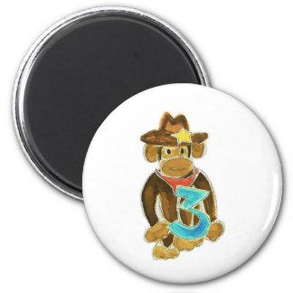 Cowboy Monkey Holding Three 6 Cm Round Magnet