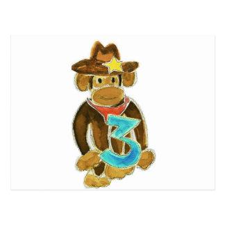 Cowboy Monkey Holding Three Postcard