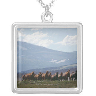 Cowboy moving herd of horses silver plated necklace