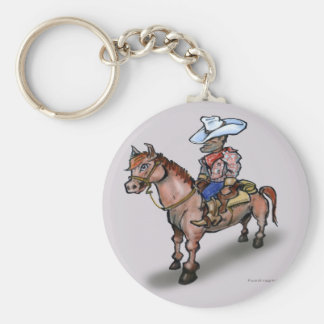 Cowboy n Horse Basic Round Button Key Ring