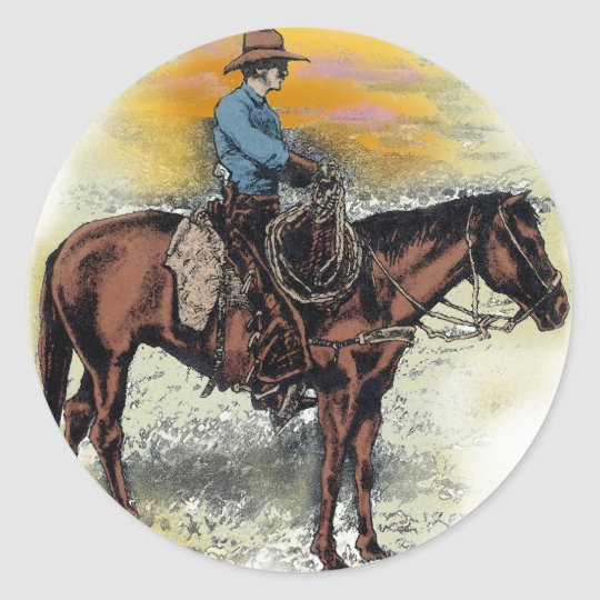 Cowboy n Sunset Round Sticker