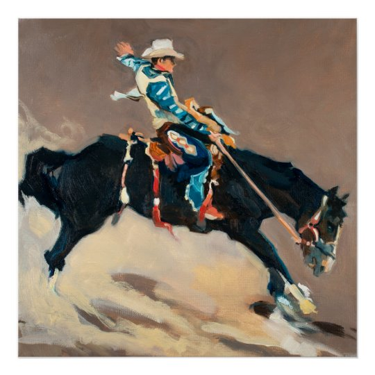 Cowboy on a Bucking Bronco at the Rodeo Poster