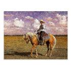 Cowboy on a palomino horse postcard