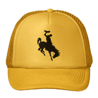 Cowboy on Bucking Bronc yellow Trucker Hat