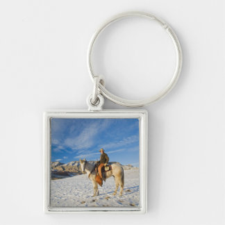 Cowboy on his Horse in the Snow 2 Silver-Colored Square Key Ring