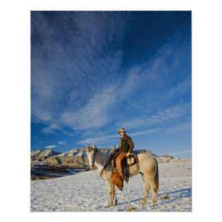 Cowboy on his Horse in the Snow 2 Poster
