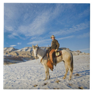 Cowboy on his Horse in the Snow 2 Tile