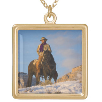 Cowboy on his Horse in the Snow Gold Plated Necklace