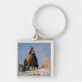 Cowboy on his Horse in the Snow Silver-Colored Square Key Ring