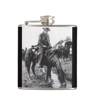 Cowboy On Horse At The Watering Hole Whiskey Flask