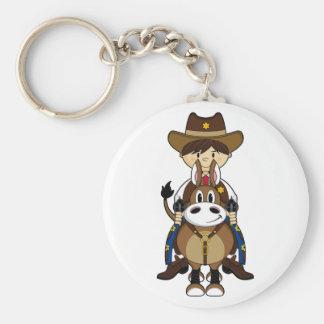 Cowboy on Horse Keychain