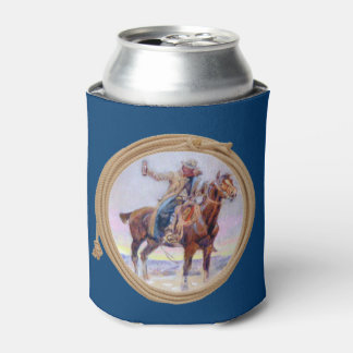 Cowboy On Horse Making A Toast Can Cooler