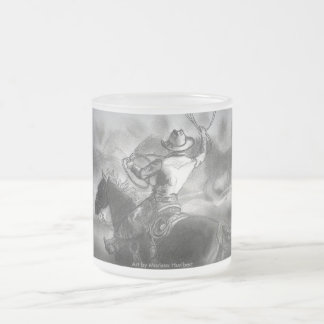 Cowboy on Horse Roping Cattle Frost Coffee Cup Mug