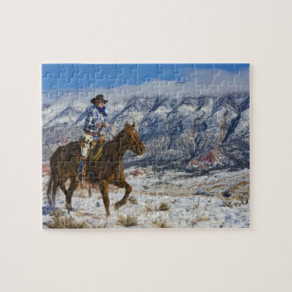 Cowboy on Horse wearing Leather Chaps 2 Jigsaw Puzzle