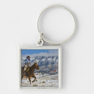 Cowboy on Horse wearing Leather Chaps 2 Silver-Colored Square Key Ring